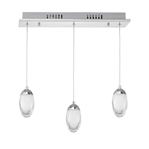 [lux.pro] Lámpara de techo LED - bombilla incluida - cromo/plata