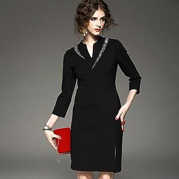 WZH Falda de vestido paso cadera de la mujer negra cuello V manga ...