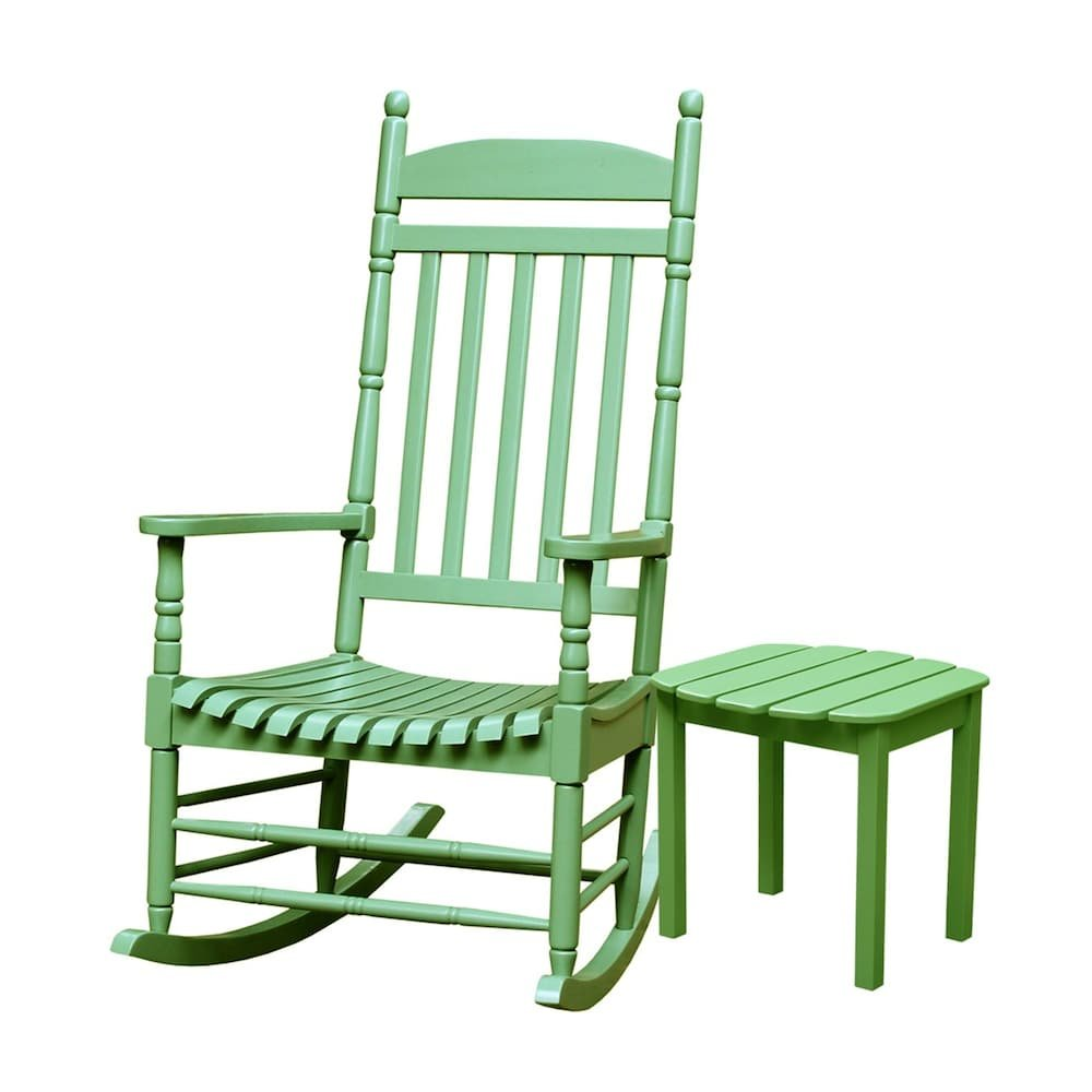MD Group Porch Rocker Chair Solid Acacia Light Green Wood with Side Table Outdoor Patio Furniture