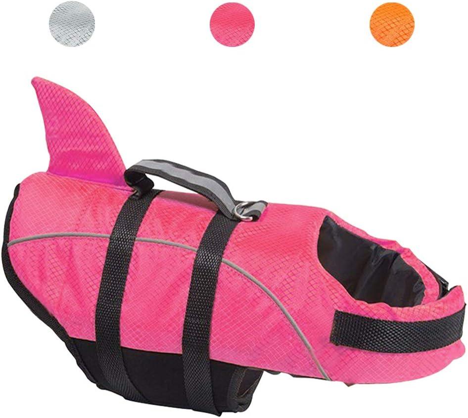 Gr/ö/ße L Avanigo Schwimmweste f/ür Hunde Haifischmotiv Rosa