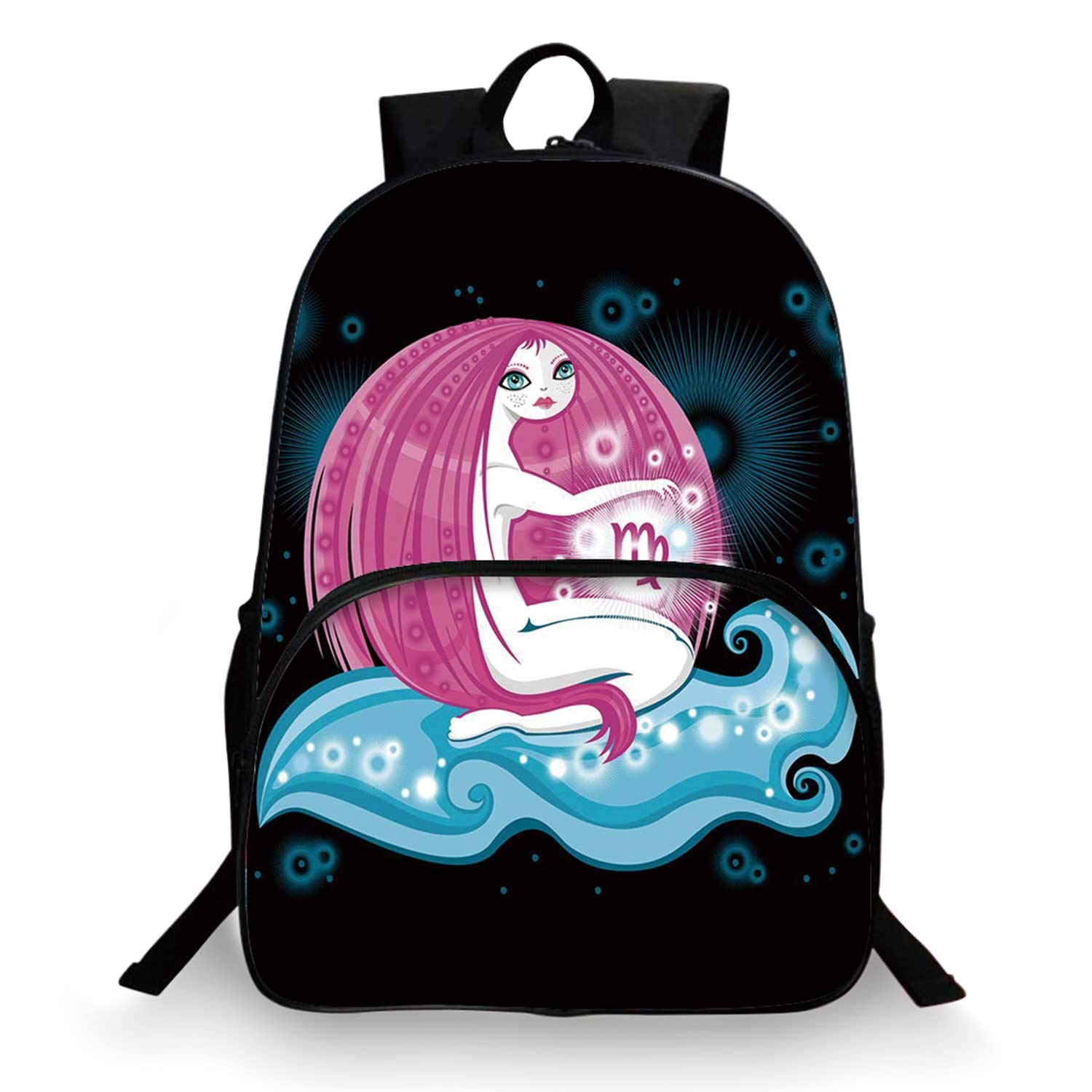 Virgo Various Schoolbag,Cartoon Horoscope Symbol with Really Long Haired Girl Sitting on Wave in Space Decorative for student,11''Lx6''Wx15''H by C COABALLA