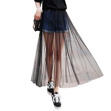 ff6befd1f8b8b9 ABBY Femme Jupe en Tulle Taille Haute Longue Jupon sans Doublure en  Polyester Jupe Noir Transparente