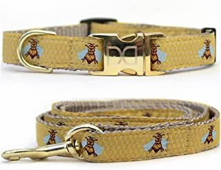 "product image for Diva-Dog 'Honey Bee' Custom Small Dog 5/8"" Wide Dog Collar with Plain or Engraved Buckle, Matching Leash Available - Teacup, XS/S"
