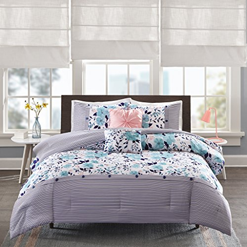 (Intelligent Design Delle Comforter Set Twin/Twin Xl Size - Blue , Floral Stripes - 4 Piece Bed Sets - Ultra Soft Microfiber Teen Bedding For Girls Bedroom)