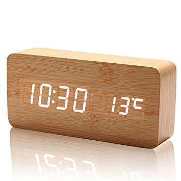 ailiebhaus Medio Madera Mesita de noche reloj despertador digital Naturaleza Decoración Home & Office, BrownWhite