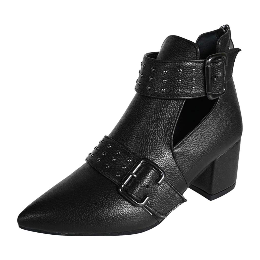 Kauneus➡ Pointed Toe Boots for Women Studded Buckle Strap Back Zipper Chunky Mid Heel Leather Boot Vintage Ankle Booties Black by Kauneus Fashion Shoes