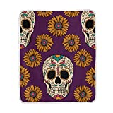 Cooper girl Mexican Skulls Sunflowers Throw Blanket Soft Warm Bed Couch Blanket Lightweight Polyester Microfiber 50x60 Inch