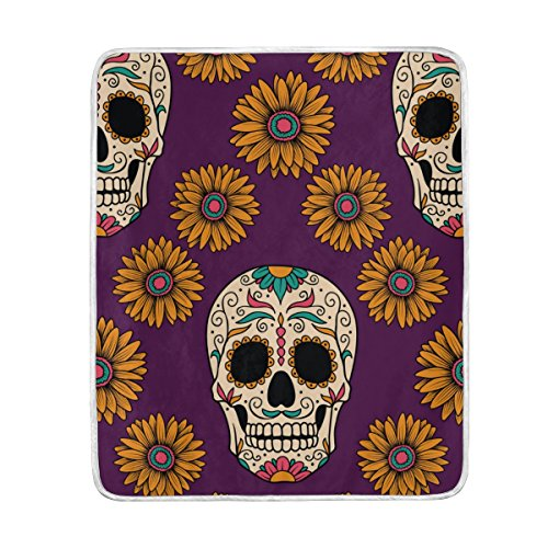 Cooper girl Mexican Skulls Sunflowers Throw Blanket Soft Warm Bed Couch Blanket Lightweight Polyester Microfiber 50x60 Inch by ALAZA