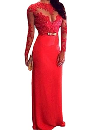 Sexy Women Lace Prom Ball Dresses Long Sleeve Formal Evening Gown