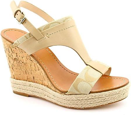 Toe Wedge Sandals in Light Khaki Size