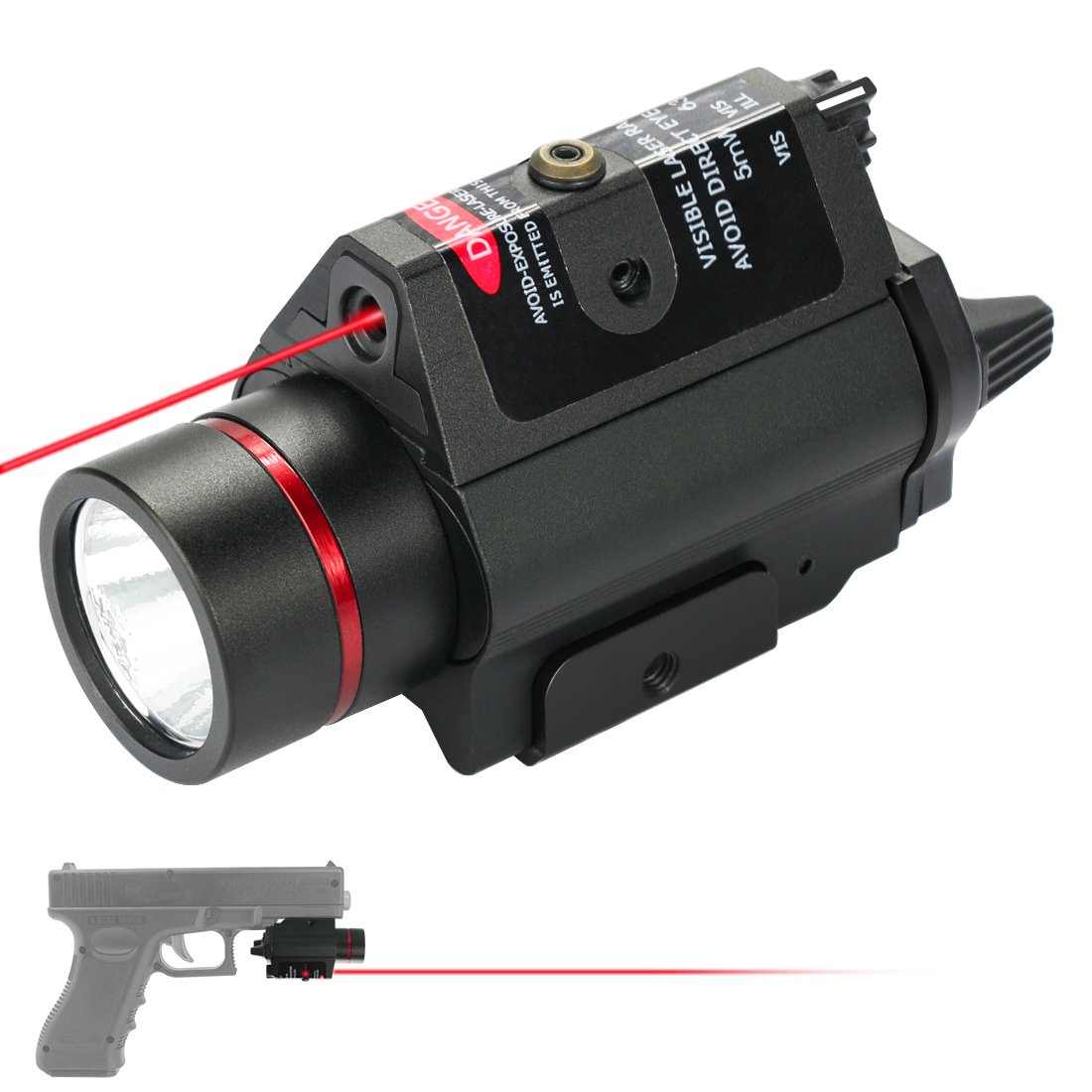 Feyachi [UPDATED] Red Laser + 200 Lumen Flashlight Combo with Compact Rail Mount for Pistol Handgun by Feyachi