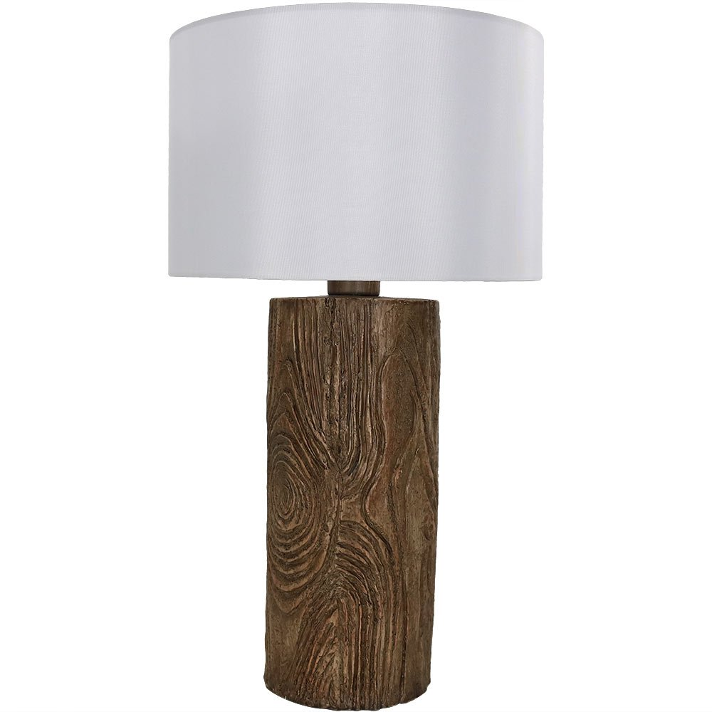 Sunnydaze Indoor/Outdoor Weather Resistant Table Lamp, Nature-Inspired Log Polyresin