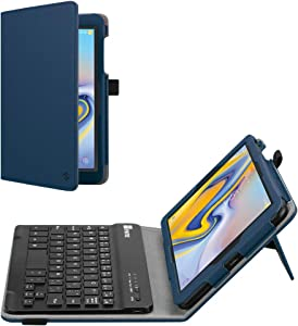 Fintie Folio Keyboard Case for Samsung Galaxy Tab A 8.0 2018 Model SM-T387 Verizon/Sprint/T-Mobile/AT&T, Premium PU Leather Stand Cover with Removable Wireless Bluetooth Keyboard, Navy