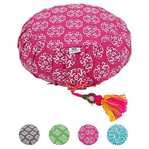 Lotus Design Meditationskissen/Yogakissen rund, ZAFU RAJA, 15 cm hoch, Bezug 100% Baumwolle waschbar, Yoga-Sitzkissen…