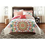 OSD 8pc Girls Medallion Motif Comforter Queen Set, Tribal Southwest Indian Native, Bohemian Textural Mandala Pattern, Elegance Boho Chic Hippy Floral Bedding, Abstract Colors Coral Pink Blue Green