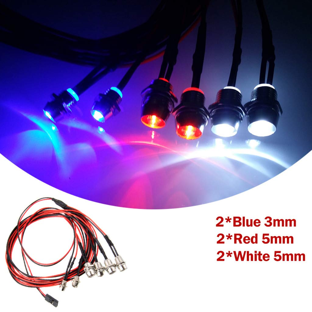 DDLmax RC Car Accessories LED 6 Lights 2 Blue 2 White 2 Red for 1//10 1//8 Traxxas TRX4 HSP Axial SCX10 D90