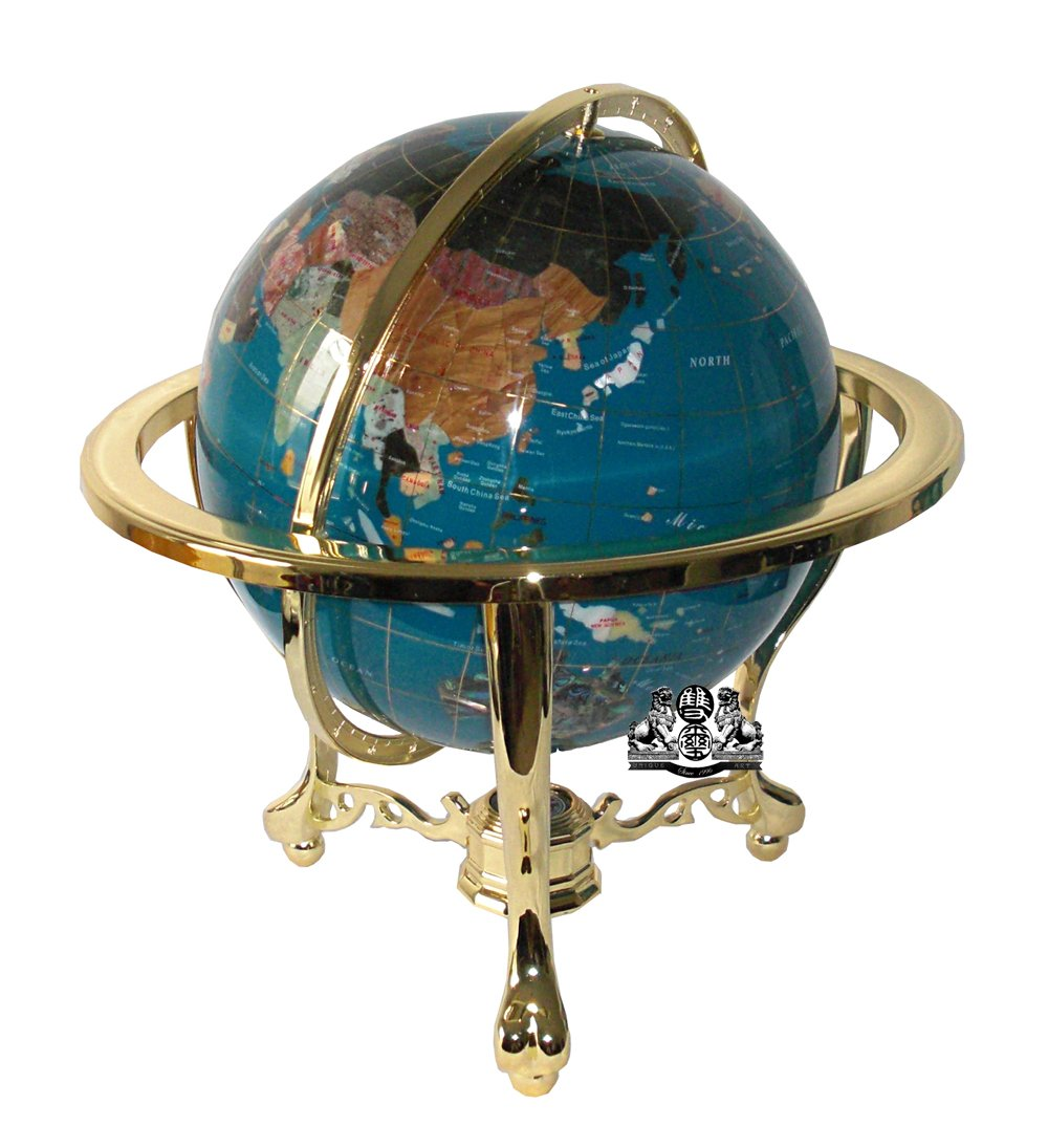 Unique Art 21-Inch Tall Turquoise Blue Ocean Table Top Gemstone World Globe with Gold Tripod by Unique Art Since 1996 (Image #1)