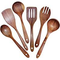 Monland Wooden Utensils Set of 6, Large Kitchen Cooking Utensil for Non Stick Cookware, Natural Teak Wood Spoons Spatula Ladle Colander, Durable Seamless Kitchen Tools