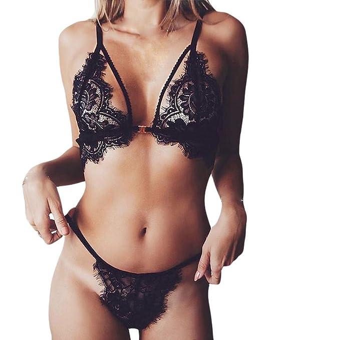 JiaMeng Lencería sexy 2018,Mujeres Sexy Lencería sin Costuras Flores de Encaje Push Up Top