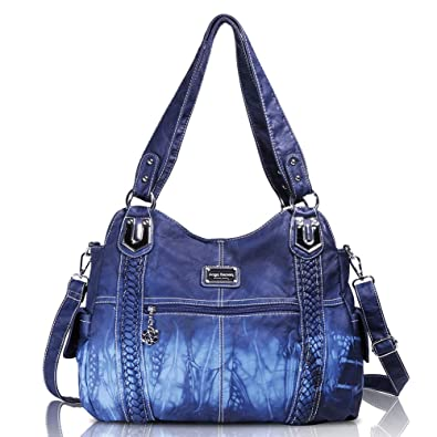 Amazon.com  Angelbarcelo Girls Large Handbags Female Hobo Corss Shoulder  Bags Tote PU Washed Leather Handbags 2 Top Zippers Closure Fashion Large  Capacity ... b2077e983b55f