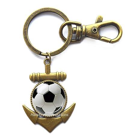 Amazon.com: Llavero con diseño de ancla de fútbol, llavero ...