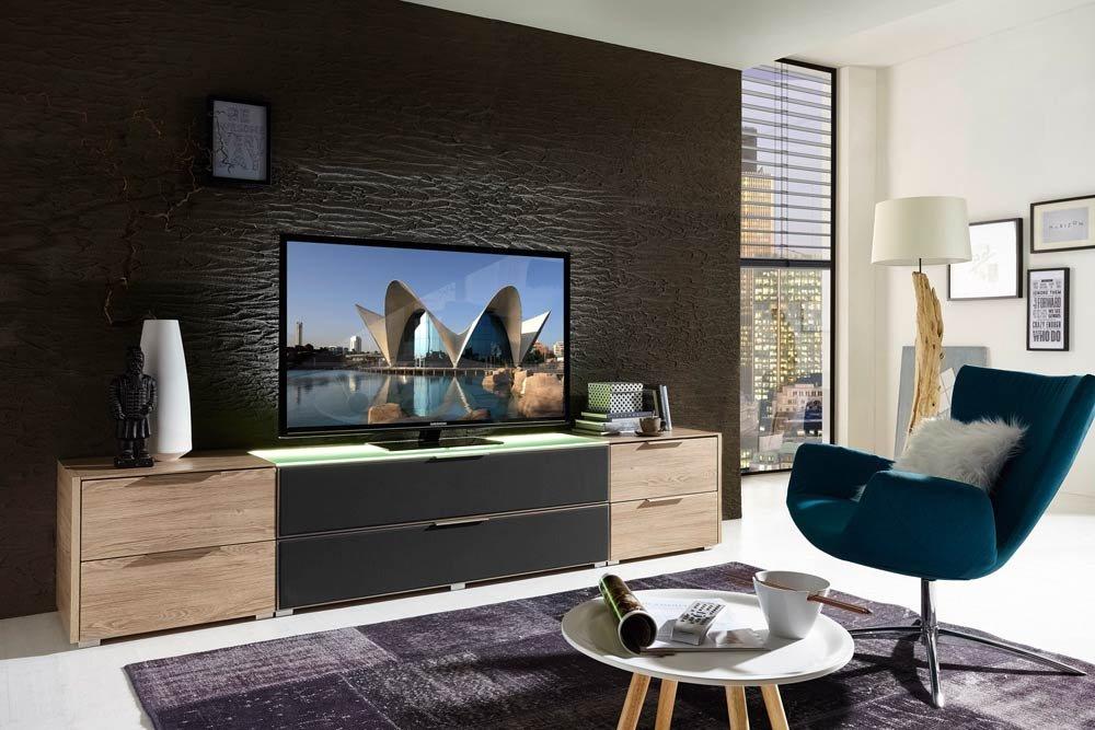 TV-Lowboard TV-Board in Eiche Nb./grau mit Akustikfächern und LED ...