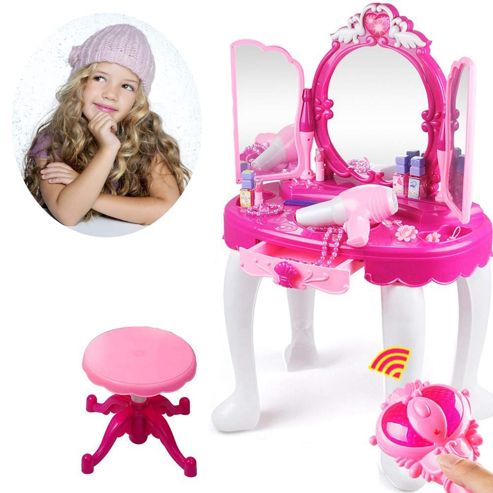Ejoyous Girls Dressing Table Playset, Princess Make Up Beauty Mirror Vanity Table Toy with Stool and Makeup Accessory for Kids Children Toddler Christmas Birthday Gift by Ejoyous