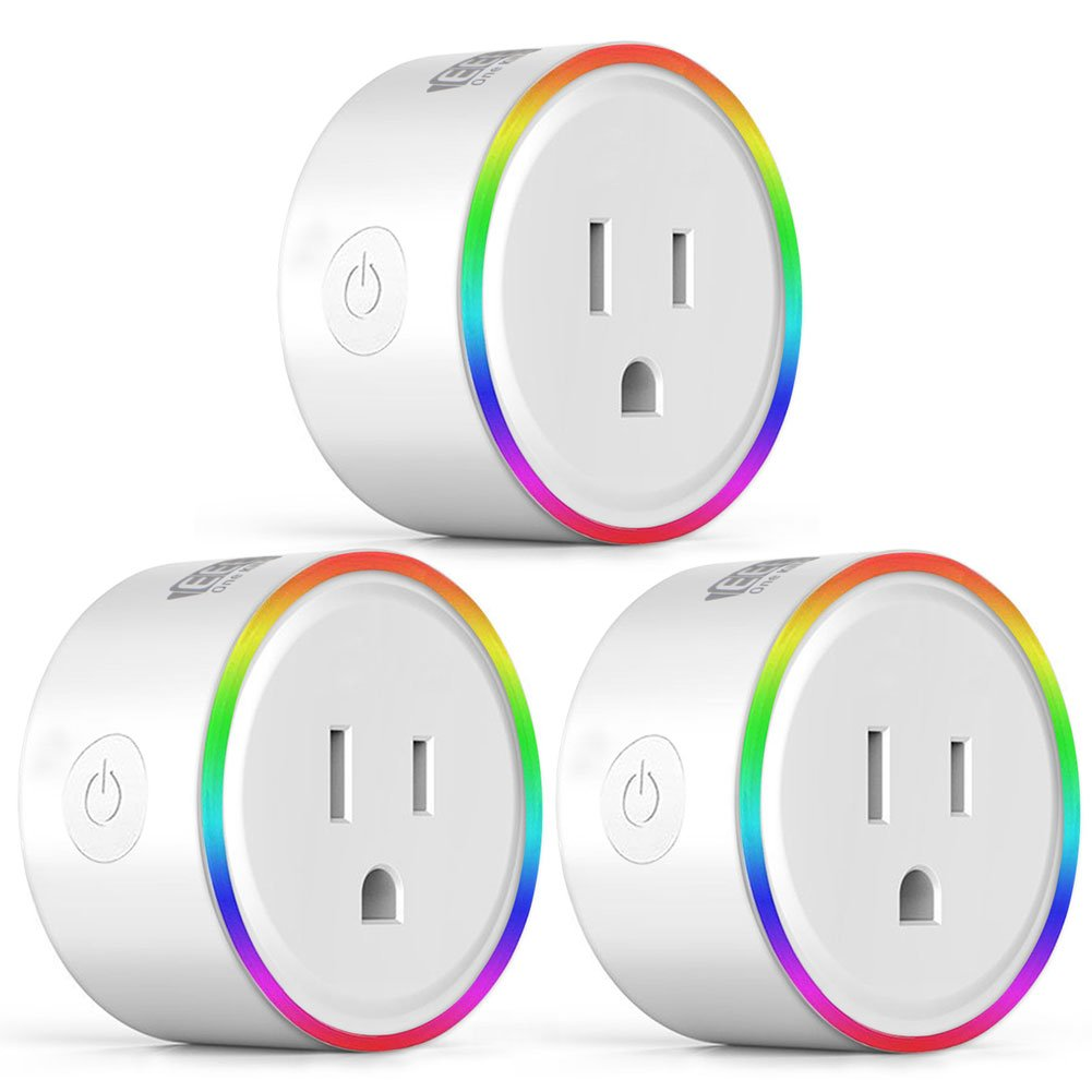 EEEKit 3-pack WiFi Smart Plug w/LED Night Light, Newest Version Outlet Compatible with Alexa Echo/Google Home/App and Voice Control Anywhere Anytime, Wireless Remote Control via Smartphone