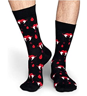 Happy Socks Mens 1 Pack Unisex Combed Cotton Crew-Navy Stars