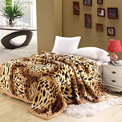 Znzbzt Wedding red blanket thick-pile carpet in winter cover wedding celebration red double blanket ,180X220-6 catty, leopard by Znzbzt