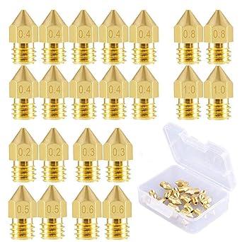 0.8mm 22 Pieces 3D Printer Nozzles MK8 0.2mm 1.0mm 0.6mm 0.5mm 0.3mm 0.4mm
