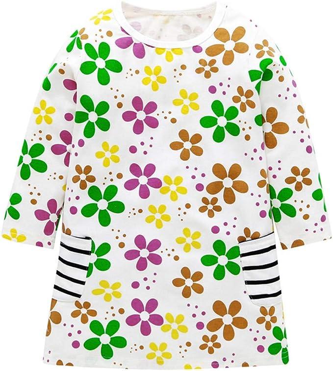 Mitlfuny Primavera Verano Niñas Bebé Vestidos Manga Larga Camiseta ...