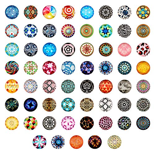 Craftdady 200Pcs Mosaic Printed Glass Flat Back Half Round Cabochons 20mm (3/4