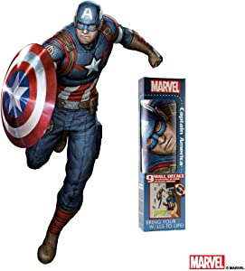 Marvel Captain America Wall Decal - Augmented Reality Captain America Wall Decals For Bedroom - Avengers Bedroom Wall Decor - Stickers For Wall Decoration For Kid's Room