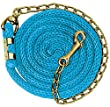 """Weaver Leather Poly Lead Rope with Brass Plated Swivel Chain, Navy/Blue/Turquoise, 5/8"""" X8'6"""""""