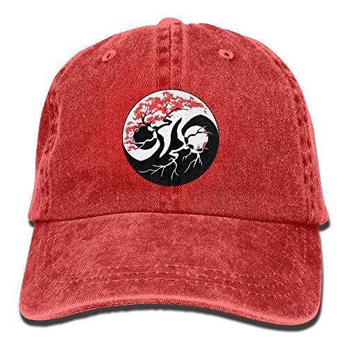 SJIEXZ Bonsai Tree Yin Yang Unisex Trendy Denim Snapback Hat Sun Protection Cricket Cap Unisex Cricket