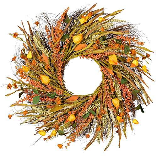 22 inch Fall Wreath Front Door Wreath Grain Wreath Harvest Gold Wheat Ears Circle Garland autumn wreath