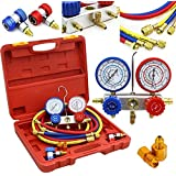 New R134a R12 R22 AC A/C Manifold Gauge Set 5FT Hose Air Conditioner quick adapter