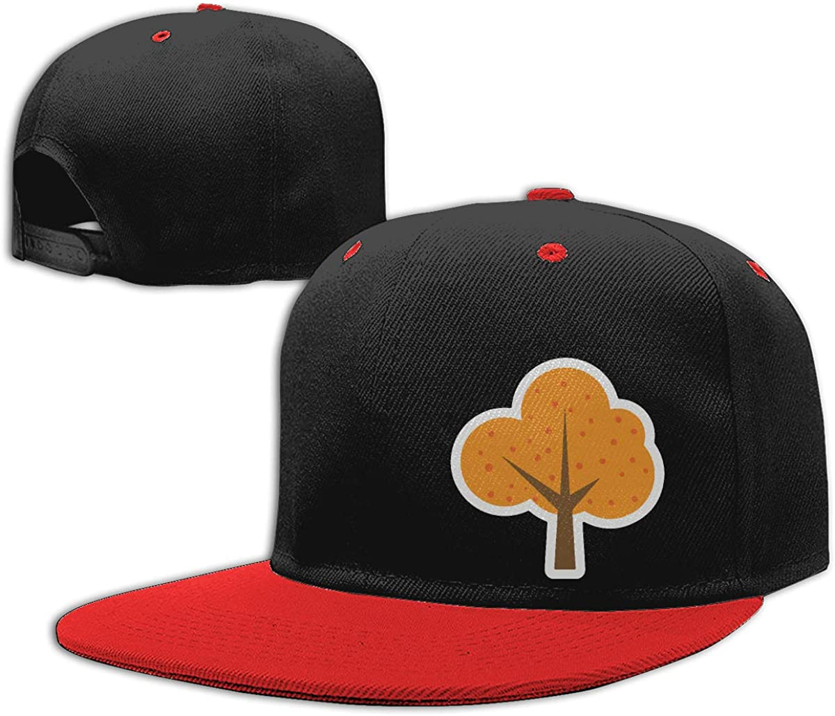Men Womens Punk Rock Cap Orange Tree Plant Unisex Flat Brim Baseball Caps