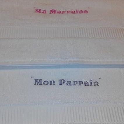 Toalla de baño bordado personalizada Padrino/Marraine