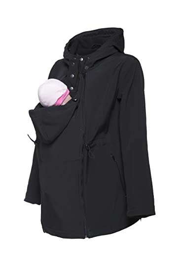 0706b434884 Happy Mama Womens Maternity Softshell Jacket Hood Carrier Removable Insert.  447p (Black