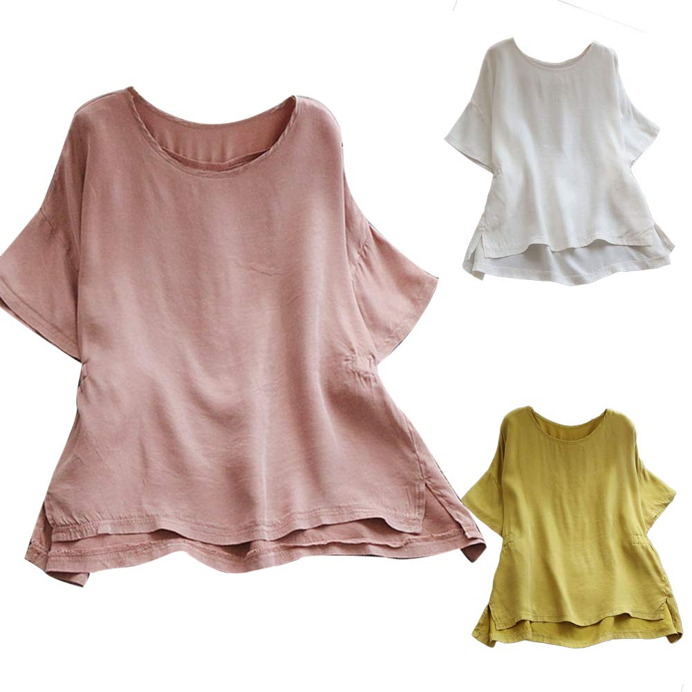 Colorido Solid Color Cotton Linen Short Sleeve Round Neck Plus Size All-match Casual Summer Women T-Shirt Top