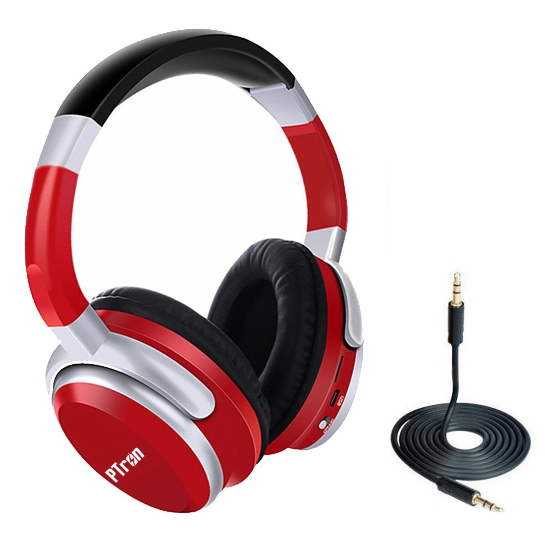 PTron Rodeo Over-Ear Bluetooth Headphones (Red)