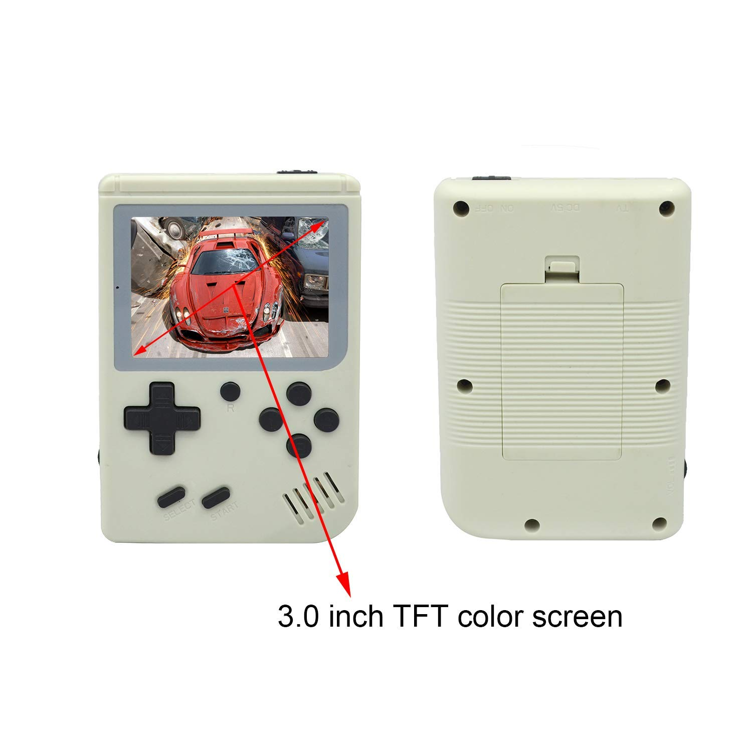 FLYFISH Handheld Game Console, Retro FC Game Console 3 Inch 168 Classic Games , Birthday Present for Children -White by FLYFISH (Image #3)
