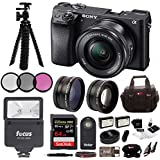 Sony ILCE-6300 a6300 4K Mirrorless Camera 16-50mm + 64GB Pro Accessory Bundle, Software Package, Wide Angle Le