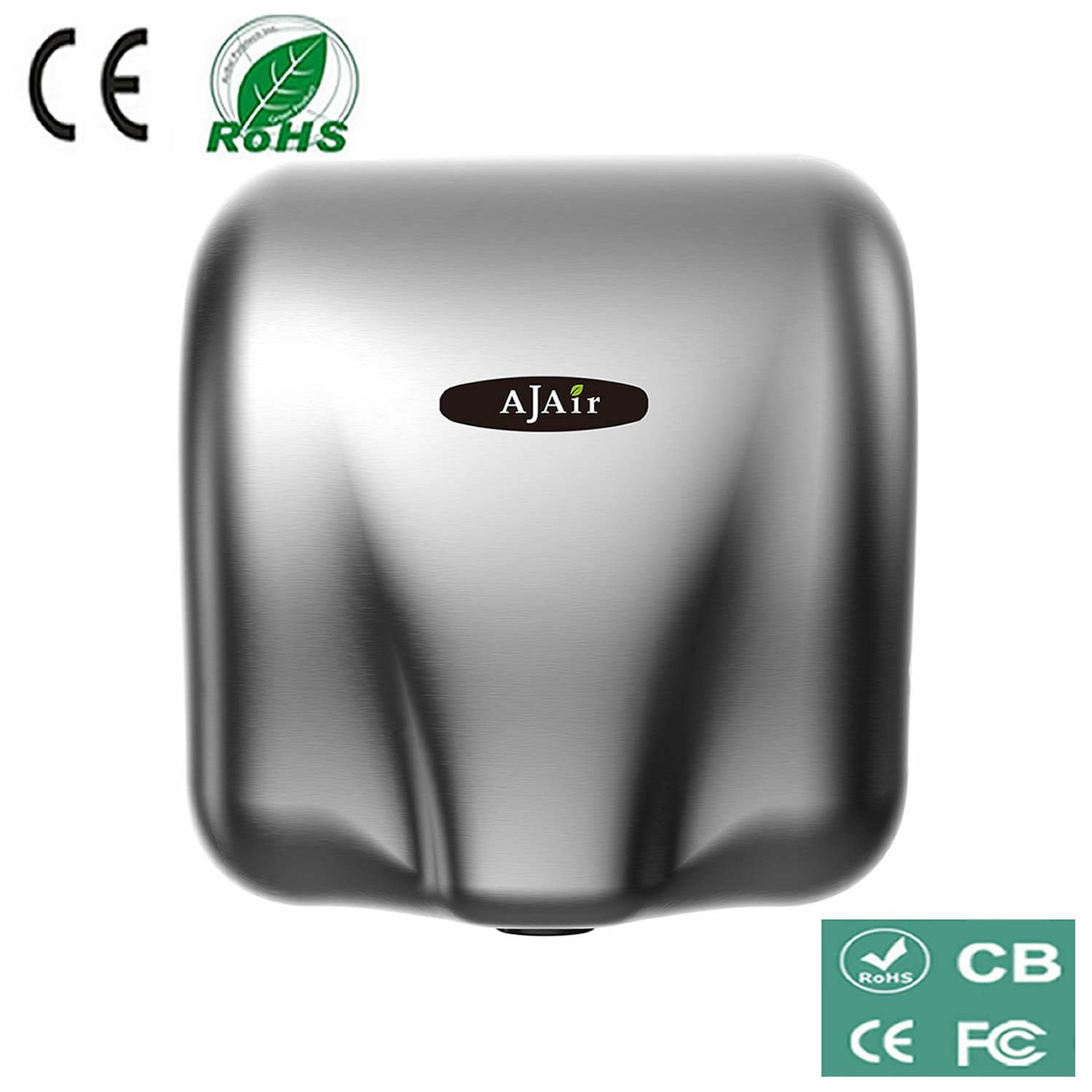 AjAir® Heavy Duty Commercial 1800 Watts High Speed Automatic Hot Hand Dryer - Stainless Steel by AjAir