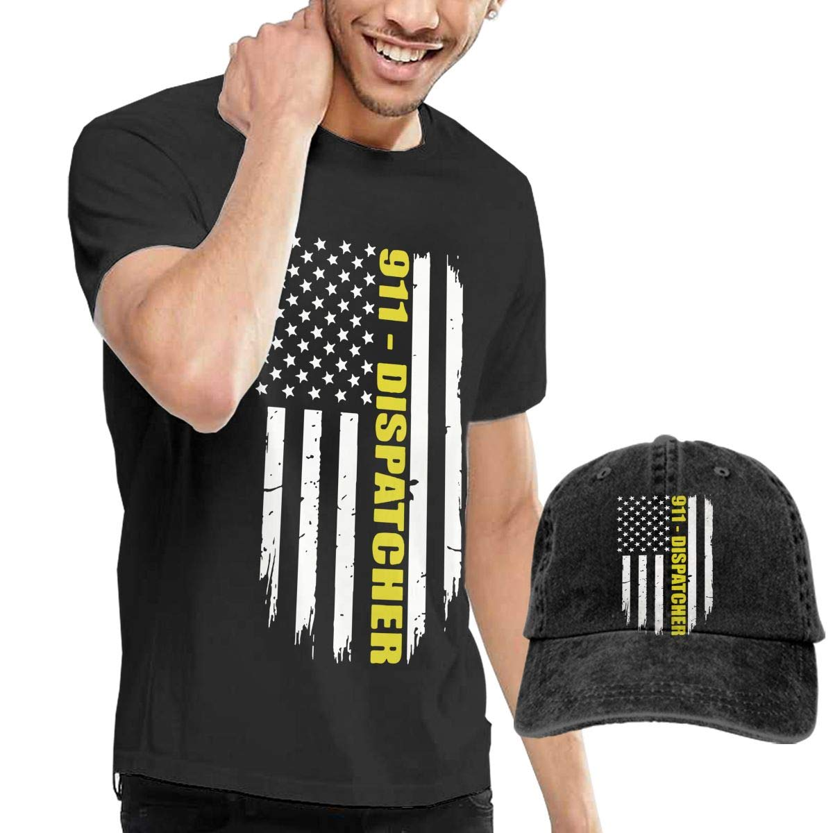 WWTBBJ-B 911 Dispatcher Gift Thin Gold Line Flag Adult Mens Casual T-Shirts and Outdoor Jean Headgear