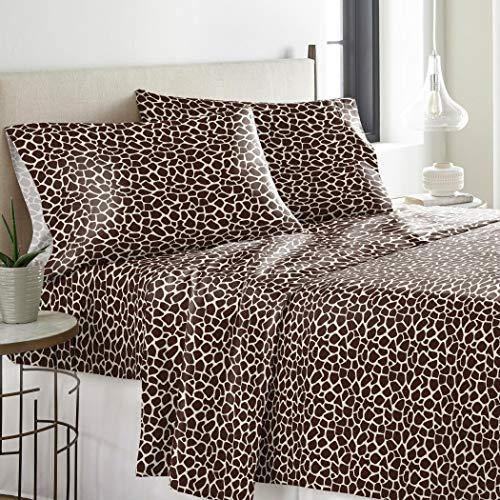 (UKN 3 Piece Girls Chocolate Twin Deep Pocket Flannel Sheet Set, Dark Brown Color Giraffe Zoo Jungle Exotic Animals Pattern, Kids Bedding for Bedroom, Luxurious African Safari Themed Teen, Cotton)