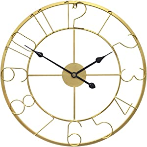 Growsun 30inch Large Wall Clock Metal Modern Fashion Home Décor Living Room Display, Gold