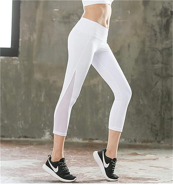 ae25aa6dfb49d Hantioo Sexy Mesh Patchwork Women Yoga Pants Fitness Sports Leggings Capri  Pants Slim Running Tights Gym